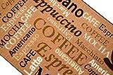 Teppich Modern Flachgewebe Gel Läufer Küchenteppich Küchenläufer Braun Beige Schwarz mit Schriftzug Coffee Macchiato Cappuccino Espresso Größe 67×180 cm - 3