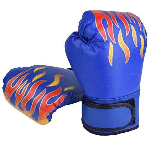 GLOGLOW Guanti da boxe per bambini 3 colori Guanti da boxe per bambini MMA Guanti da allenamento Muay Thai Sparring Training Guanti(blu)
