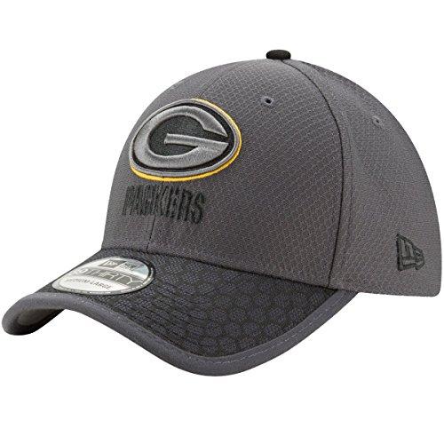 Green Bay Packers New Era NFL 39THIRTY 2017 Sideline Graphite Flex Fit Hat Hut Flex Hut