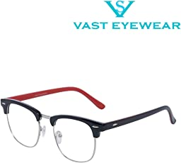 Vast Zero Power Anti Glare Computer Glasses Clubmaster Unisex Frame (CM_RED_SHADED_CLEAR_CLEAR_|52|Transparent).