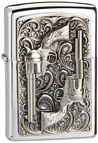 Zippo 2001654 Revolver Emblem Feuerzeug, Messing