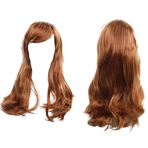 Makefortune 2019 Damen Perücke,Frauen Perücken Lange Haare schwarz Gradient große Welle Lange lockige Perücken Rose Net High Tempe Cosplay Lange Synthetik ()