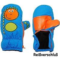 alles-meine.de GmbH Fausthandschuhe - mit Reißverschluß & langem Schaft - Größen: 9 Monate bis 4 Jahre -  lustiger Dinosaurier - mittel blau  - LEICHT anzuziehen ! mit Daumen -..