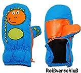 Unbekannt Fausthandschuhe - mit Reißverschluß & langem Schaft - Gr. 3 bis 4 Jahre -  lustiger Dinosaurier - mittel blau  - LEICHT anzuziehen ! mit Daumen - Thermohand..