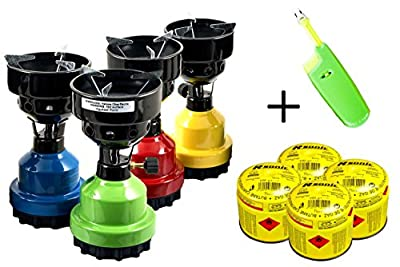 Gaskocher Campingkocher Shisha Kohleanzünder grillanzünder + 4x Gaskartuschen + Feuerzeug NEU
