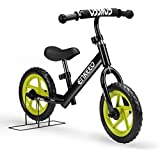 Enkeeo 12 No Pedal Balance Bike For 2-6Years Old Kids, Carbon Steel Frame, Adjustable Handlebar And Seat, 50kg Capacity, Black