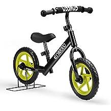 Enkeeo - Bicicleta sin Pedales, Bicicleta Infantil de Equilibrio (Marco de Acero Carbon, Manillar y Asiento Ajustables, Capacidad 50kg, Alta Resistencia) (Negro)
