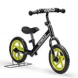 ENKEEO Prima Bici Senza Pedale per Bambini Altezza meno di 1.1m, Telaio in Acciaio al Carbonio, Sella e Manubrio Regolabile, Capacità fino a 50kg, Nera