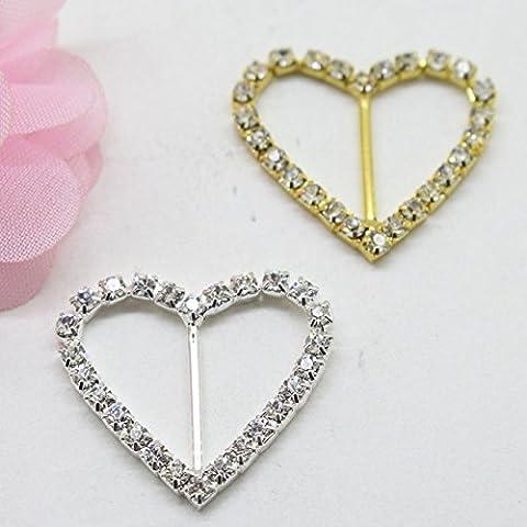 Nuovo 17 millimetri bel diamante a forma di cuore fibbia, argento