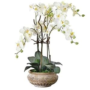 plante artificielle orchid e et cache pot en c ramique marron hauteur 58 cm cuisine. Black Bedroom Furniture Sets. Home Design Ideas