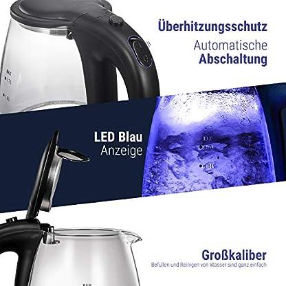 QUEENSENSE-Wasserkocher-Glas-Teekocher-17-Liter-Elektrischer-Wasserkessel-mit-Filterauslauf-Glaswasserkocher-mit-LEDAutomatische-Abschaltung-berhitzungsschutz-BPA-Frei-2000W