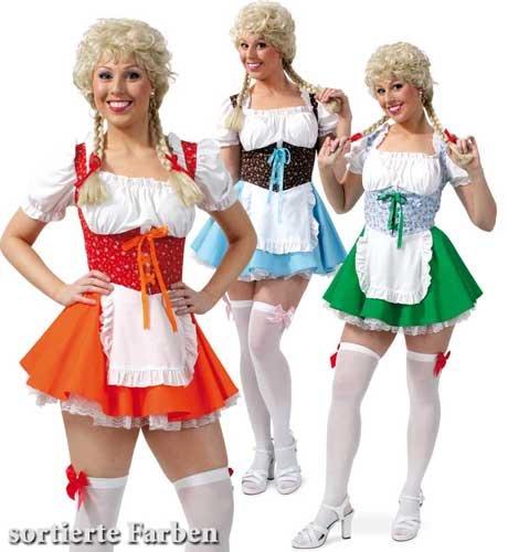 Spears Britney Kostüm - Dirndl Damenkostüm in 3 Farben Gr. 42