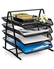 StandyZone Metal Mesh 4 Layer Newspaper and Magazine Storage Organizer Rack Document File Paper Stationery Holder Tray for Home and Office