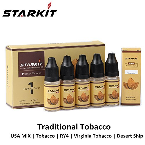StarKit E Liquid 5 x 10ml PG70% VG30%, Tranditional Tobacco Flavors Nicotine Free Refill for E Cigarette Ecig Shisha Eliquid 0mg USA MIX | Tobacco | RY4| Virginia | Desert Ship EJuice(Tobacco)