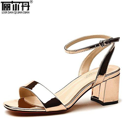 Estate moda donna sandali comodi tacchi alti,36 albicocca Gold