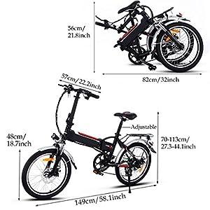 AMDirect E bike, 20 Zoll Klapprad Pedelec Elektrofahrad mit Lithium-Akku (250W, 36V), Ladegerät, 7-Gang Shimano Nabenschaltung