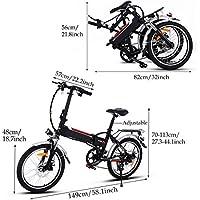 AIMADO Bicicletas Electricas de Montaña Plegable 18,7 Pulgadas Para Mujeres, E-bike MTB 250W 25-35 km/h, Aluminio, Batería de Litio 36V, Shimano 7, ...