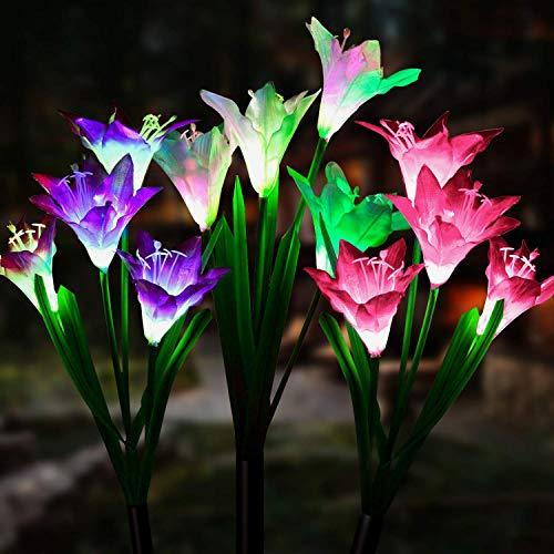 Solarleuchte Garten, JuguHoovi 3 Stück 12-Kopf Solarleuchten für Außen, Garten Lampen Lilie Solarlichter mit größerer Blume und Breiterem Solarpanel für die Gartendekoration (Weiß, Pink & Lila)