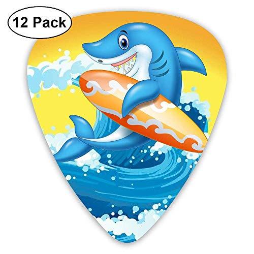 Smile Shark Surfboard Jumping Guitar Picks 12pack Celluloid Plectrum Custom Gift for Musician