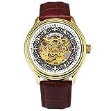 KS Armbanduhren für Herren männer Edelstahl Luxus Automatische Mechanische Skelett Analog Lederband Uhr Braun KS386