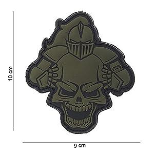 Patch 3D PVC Knight Chevalier Tete de mort Couleur Vert / Cosplay / Airsoft / Camouflage