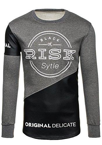 BOLF – Felpa senza cappuccio – Pullover – Sweat-shirt – MIX – Uomo – L Grigio [1A1] Antracite_J07