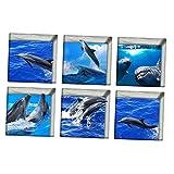 Homyl 6pcs 3D Antirutsch Aufkleber Sticker für Duschen und Wanne Fliesen - Hai