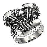 JAJAFOOK uomo in acciaio INOX nero moto motore anello con personalizzata e Acciaio inossidabile, 24,5, colore: Nero, cod. 180227018