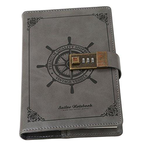 VWH Tagebuch mit Passwort, Spiralnotizbuch, modernes Design, Kunstleder, mit Zahlenschloss, Kartenfächern, Stifthalter (Rauchgrau) (Tagebuch Passwort Mit)