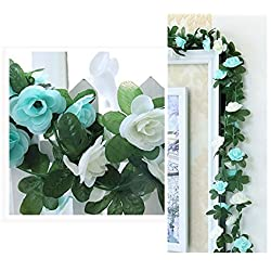 LumenTY k�nstliche Rosenreben, k�nstliche Blumen f�r Ihr Zuhause, Hochzeiten, Garten, Geburtstag, Feierlichkeiten, zur Dekoration, 2er-Packung, in leuchtendem und hellem Purpur, blau, Blue and White