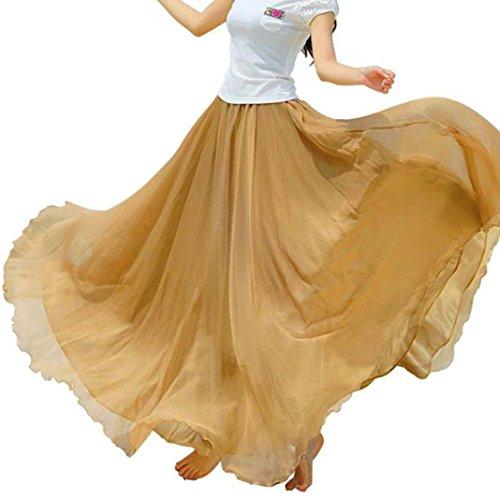 Rcool Casual elastische Taille Chiffon Rock lange Maxi Strandkleid für Frauen Damen (Khaki) (Sleeve T-shirt Green Womens Cap)