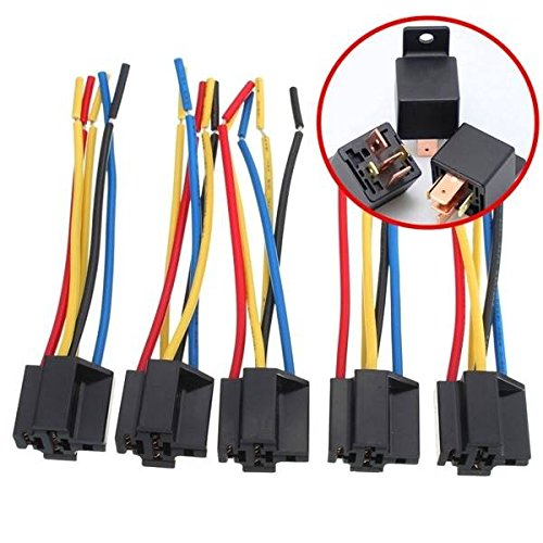 mark8shop 5PCS 5-Pin-Kabel Relay Socket Kabelbaum Anschluss DC 12V für Auto W6 Pin Relay Socket