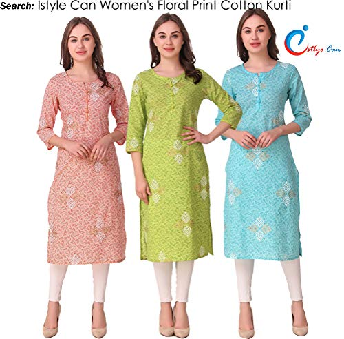 Istyle Can Women's Cotton Leheriya Print Kurti (Sea Green, Small)