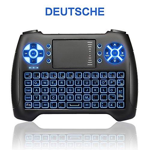 iLifeSmart Mini Tastatur, T16 2.4GHz Mini Wireless Keyboard Multifunktions Hand Mini Tastatur mit Touchpad Maus für Windows Android Smart TV PC Tablet Mac (Deutsche Tastatur)