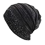 Yvelands Frauen Männer warme Baggy Weave häkeln Winter Wolle Stricken Ski Beanie Skull Caps Hut(Schwarz,One Size)