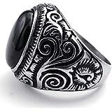 خاتم رجالي من ستينلس ستيل ومزين بالكرستال الاسود (حجم الخاتم 8)