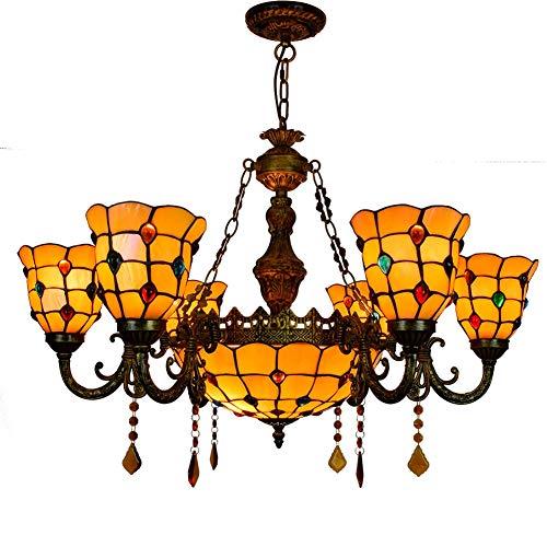 Be82aene Perle di coda di Tiffany di stile di Phoenix lampada di vetro macchiato Shades 6 Braccio Lampadario con 12 pollici invertito soffitto Lampada a sospensione Il dispositivo di illuminazione Lam