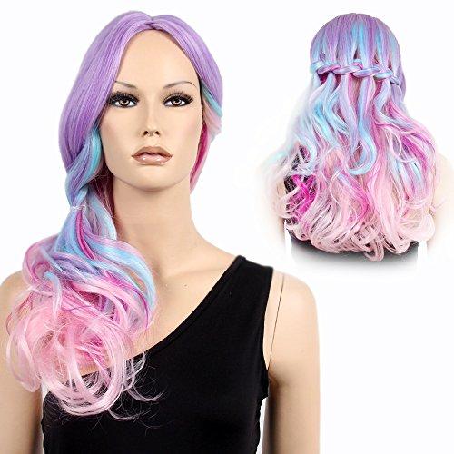 STfantasy Peluca mujer rainbow unicornio Ondulado Onda rizado Ombre lila rosa wig para uso diario carnaval halloween fiesta de disfraces Cosplay