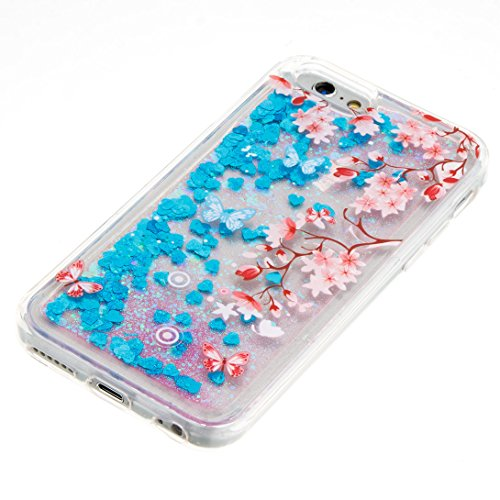 Pheant® Apple iPhone 6/6S (4.7 pouces) Coque Gel Brillante Étui de Protection Cas Transparent en TPU Silicone Liquide Bling Gratuit Paillettes Sables Mouvants Phone Case Cover Prune Fleur