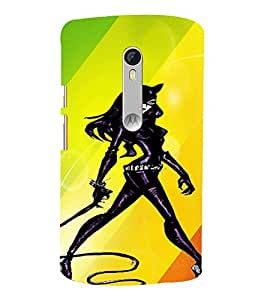 PrintVisa Colorful Cool Cat woman 3D Hard Polycarbonate Designer Back Case Cover for Motorola Moto X Style
