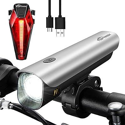 Toptrek Fahrradbeleuchtung StVZO Zugelassen Fahrradlicht USB Wiederaufladbare Fahrradlampen Set (Frontlicht + Rücklicht)/Samsung Li-ion/CREE LED/Wasserdicht IPX4/300 Lumen