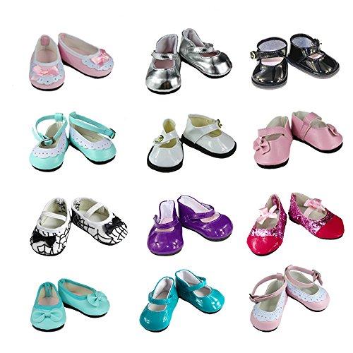 Miunana 5 Paar Schuhe Shoes Geschenk für 46-50cm Götz Stehpuppen Götzpuppe Puppen 18 Inch American Girl Dolls Goetzpuppe