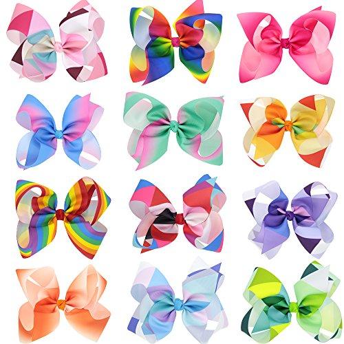 6 Zoll Baby Mädchen Kleinkinder Teens Regenbogen Haar Bows Clips Große große Haare Bögen Set von 12 Farben