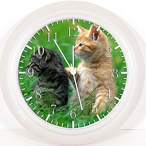 Süßes Kätzchen Katzen Wanduhr 25,4cm Will Be Nice Gift und Raum Wand Decor Z118