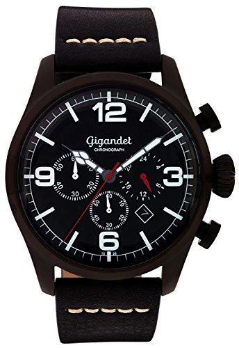 Gigandet–Reloj de pulsera hombre Daydream cuarzo cronógrafo reloj Fecha Analógico Pulsera de piel Negro G20–003