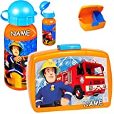 alles-meine.de GmbH 2 TLG. Set _ Lunchbox / Brotdose & Trinkflasche -  Feuerwehrmann Sam  - incl. Name - mit extra Einsatz / herausnehmbaren Fach - BPA frei - Brotbüchse Küche ..