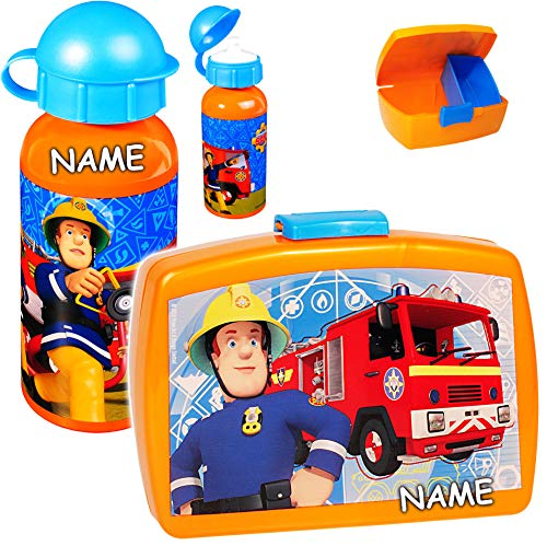 feuerwehrmann sam brotdose alles-meine.de GmbH 2 TLG. Set _ Lunchbox / Brotdose & Trinkflasche -  Feuerwehrmann Sam  - incl. Name - mit extra Einsatz / herausnehmbaren Fach - BPA frei - Brotbüchse Küche ..