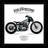 IT2M 3288F Designer Framed Printed Motor Bike Poster With Acrylic Glass Cover (Manufactured Wood, 13 Inches, Black)
