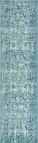 Modern Country Traditional 3-Feet by 10-Feet (3' x 10') Runner Palazzo Light Blue Contemporary Area Rug