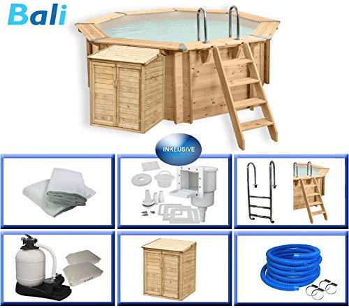 Paradies Pool Holzpool Bali Komplettset inkl. Pumpenhaus, Edelstahlleiter, Sandfilteranlage, Schwimmbad für den Garten, Badespaß für die ganze Familie, Achteck-Pool, 355 x 116 (Ø x H), Menge: 1 Stück